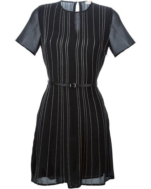 Michael Michael Kors   Женское Чёрное Полосатое Платье С Поясом