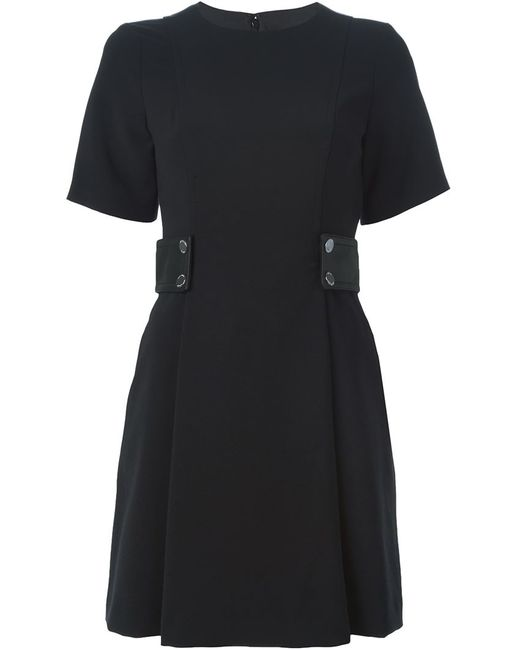 Michael Michael Kors | Женское Чёрное Платье С Круглым Вырезом И Поясом