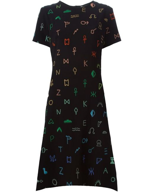 Kenzo   Женское Чёрное Платье Symbols С Неравномерным Подолом