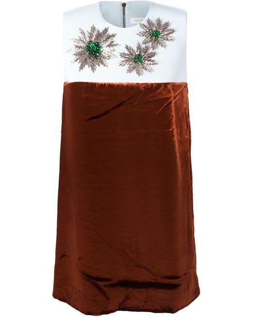 Delpozo | Женское Синее Декорированное Платье С Панельным Дизайном