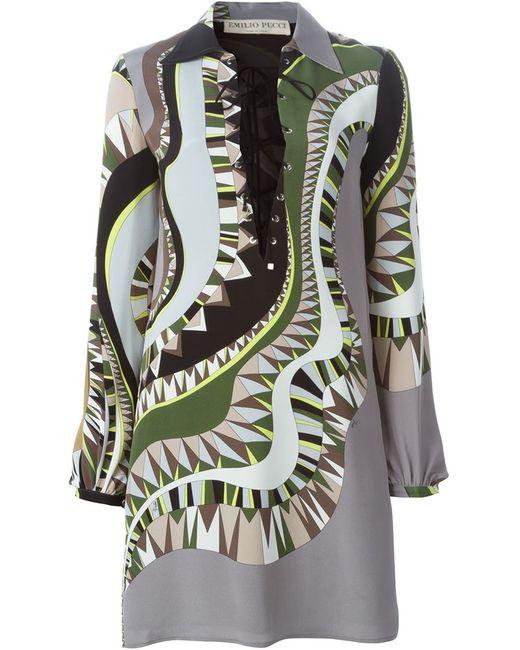 Emilio Pucci | Женское Зелёное Платье С Абстрактным Принтом И Шнуровкой Спереди