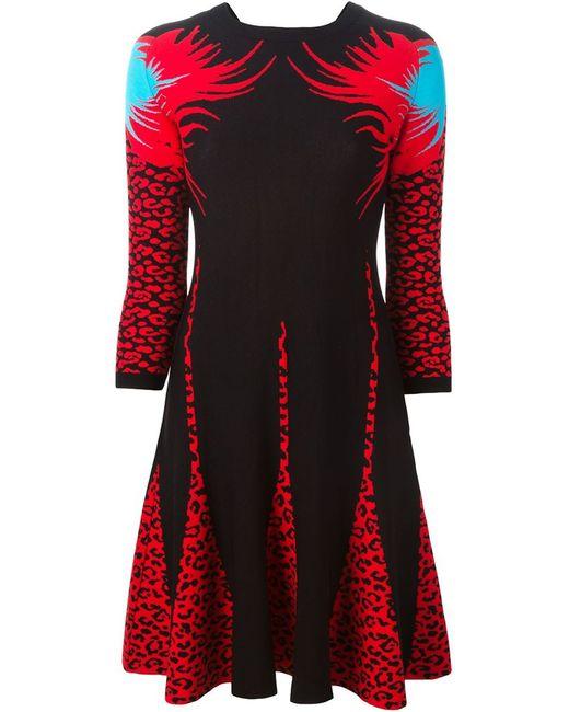 Marco Bologna | Женское Чёрное Расклешенное Платье С Леопардовым Узором-Интарсией
