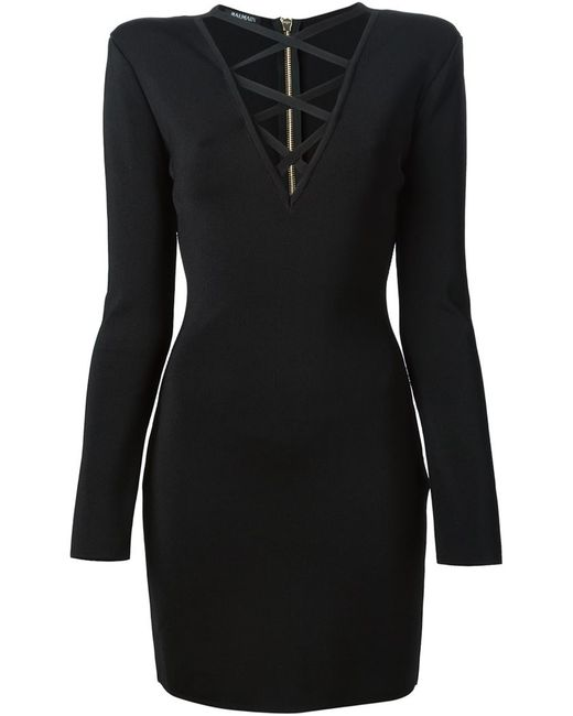 Balmain   Женское Чёрный Criss Cross Fitted Dress