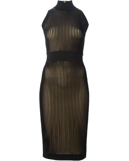 Balmain | Женское Чёрное Приталенное Платье В Рубчик