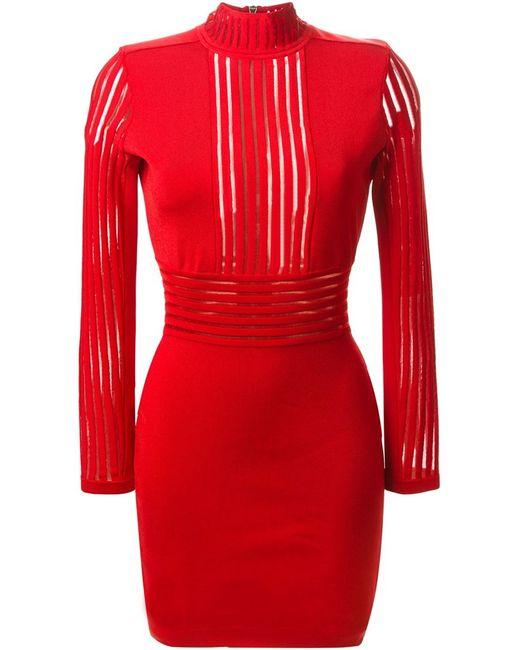 Balmain   Женское Красное Облегающее Платье