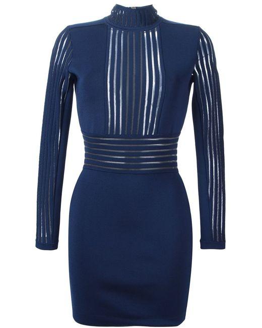 Balmain | Женское Синее Облегающее Платье
