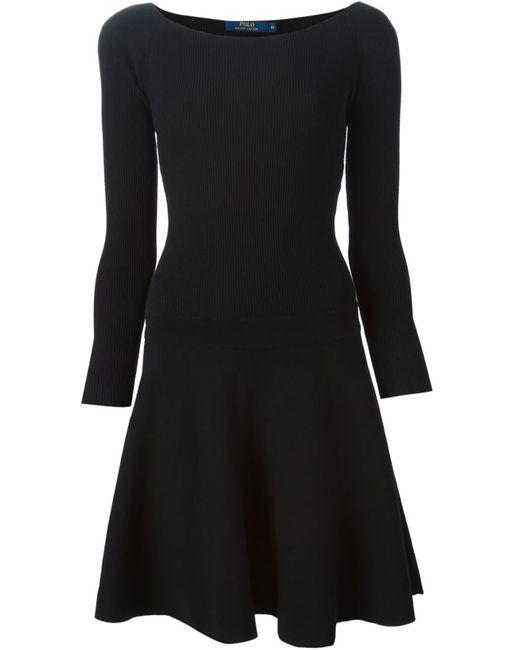 Polo Ralph Lauren | Женское Чёрное Расклешенное Платье С Вырезом-Лодочкой