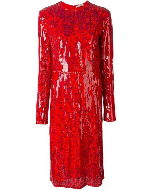 Nina Ricci | Женское Красное Платье Миди С Пайетками