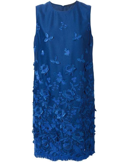 Ermanno Scervino   Женское Синий Fringed Hem Embroidered Dress