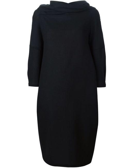 Sybilla | Женское Чёрное Драпированное Платье