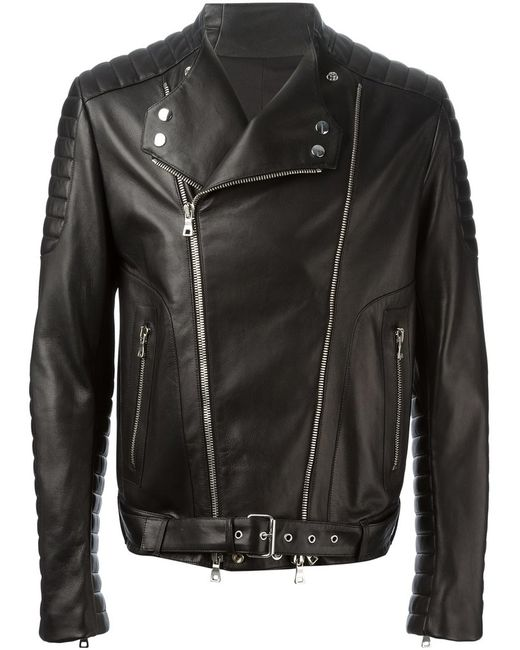 Balmain   Мужская Чёрная Байкерская Куртка
