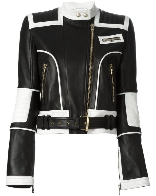Balmain | Женская Чёрная Байкерская Куртка