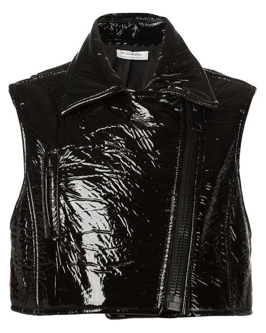 Vera Wang   Женское Чёрный Sleeveless Vinyl Biker Jacket