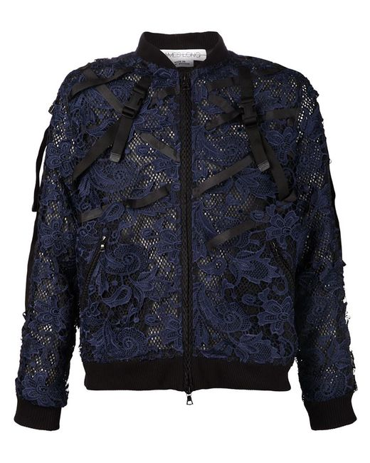 James Long   Мужская Синяя Кружевная Куртка-Бомбер