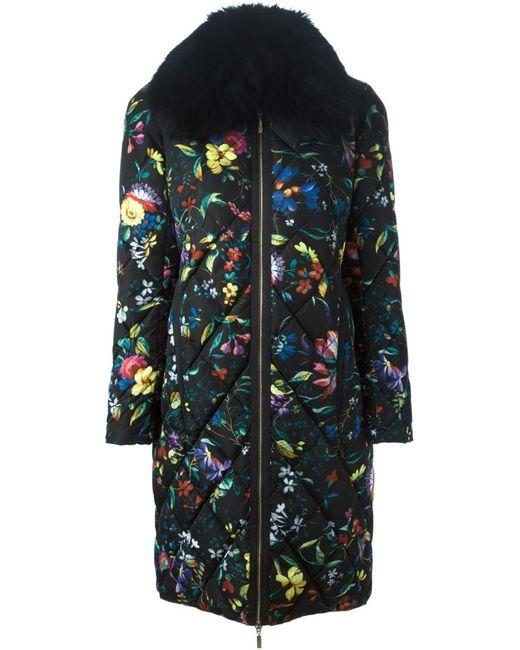 MONCLER X ERDEM   Женское Чёрное Дутое Пальто С Цветочным Принтом