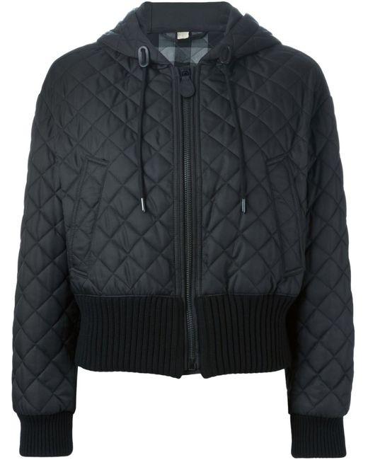 Burberry Brit | Женская Чёрная Стеганая Куртка С Капюшоном