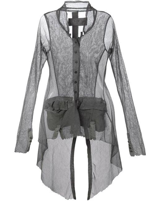 Rundholz | Женская Серая Рубашка С Неравномерным Подолом