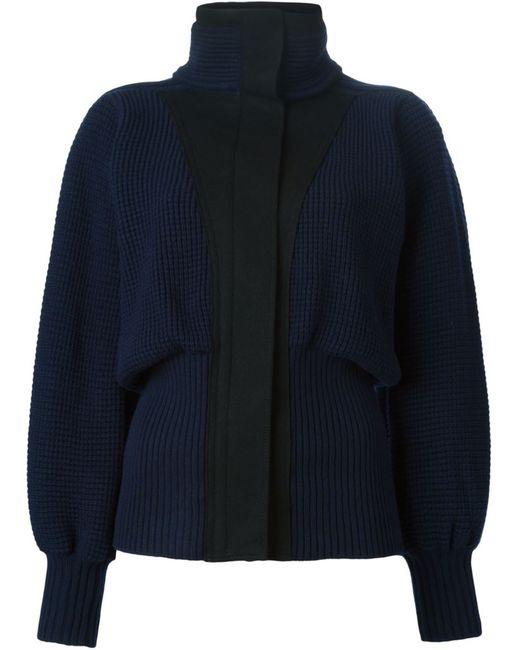 Sacai | Женская Синяя Куртка С Высоким Воротником
