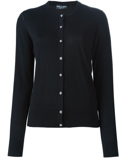 Dolce & Gabbana | Женский Чёрный Кардиган На Пуговицах С Кристаллами