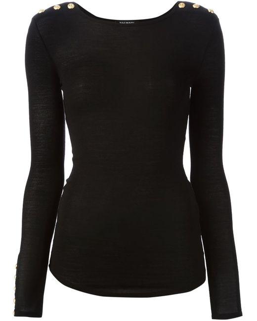 Balmain | Женский Чёрный Облегающий Свитер С Декоративными Пуговицами