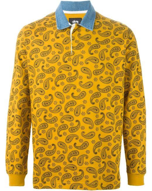 Stussy | Мужское Желтый Paisley Print Long Sleeve Polo Shirt