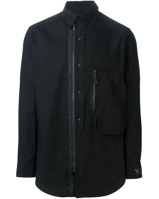 Y-3   Мужская Чёрная Рубашка С Застежкой На Пуговицах И Молнии