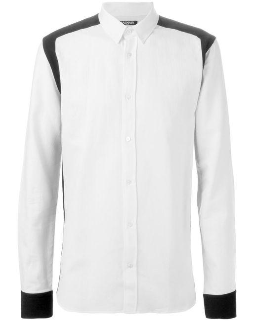 Balmain   Мужская Чёрная Контрастная Рубашка