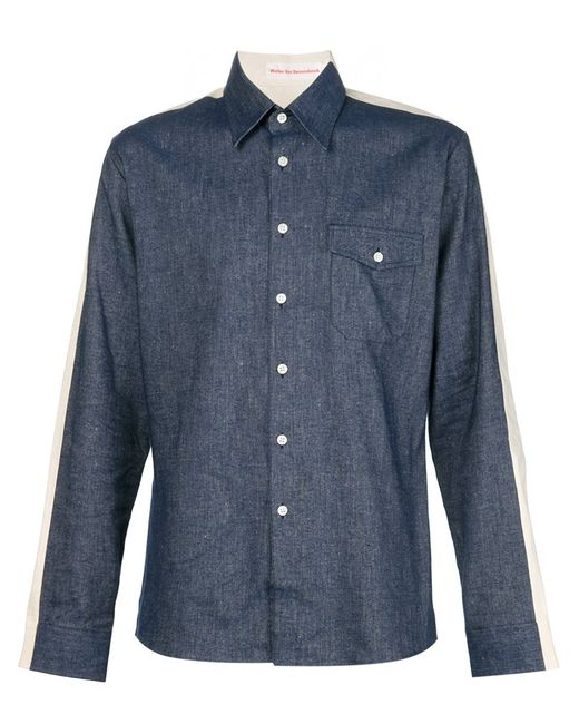WALTER VAN BEIRENDONCK VINTAGE | Мужское Синий Back Print Panelled Shirt