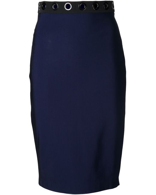 Mugler   Женское Синий Eyelet Pencil Skirt