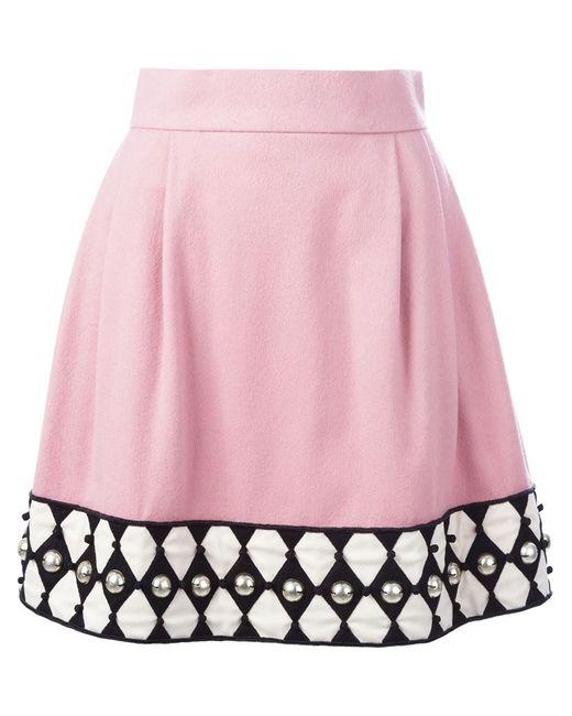 Olympia Le-Tan | Женское Розовый Embellished Hem A-Line Skirt