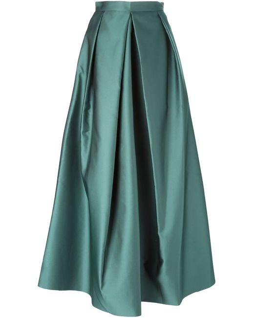 Yang Li   Женская Зелёная Плиссированная Длинная Юбка