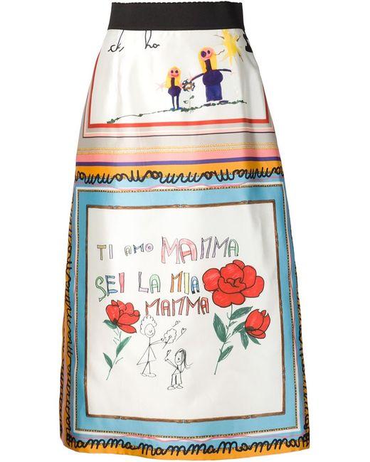 Dolce & Gabbana | Женское Белый Childs Drawing Printed Skirt