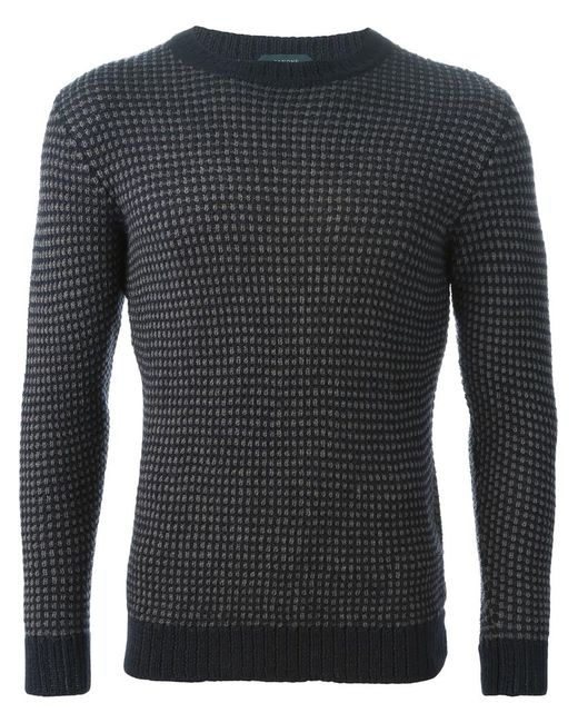 Zanone | Мужское Синий Crew Neck Sweater
