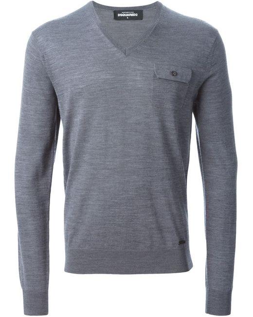 Dsquared2 | Мужское Серый V-Neck Sweater