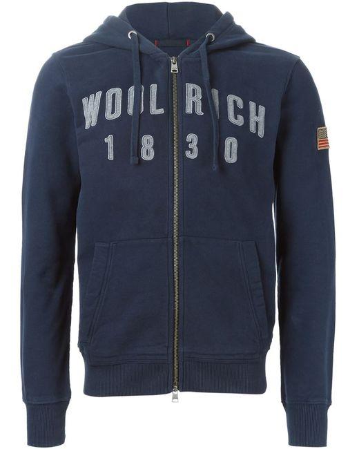 Woolrich | Мужская Синяя Толстовка С Вышивкой Логотипа