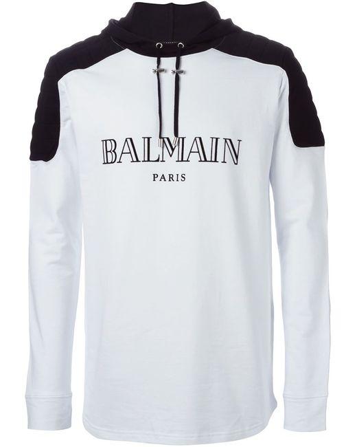 Balmain | Мужское Белый Logo Hoodie