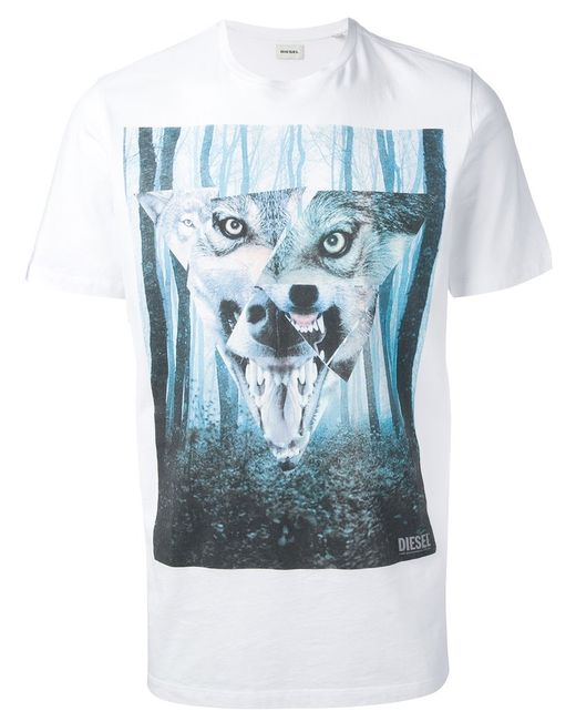 Diesel | Белый Wolf And Forest Print T-Shirt