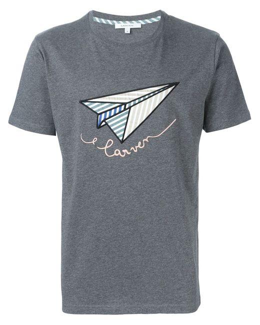 Carven | Мужская Серая Футболка С Вышивкой Бумажного Самолета