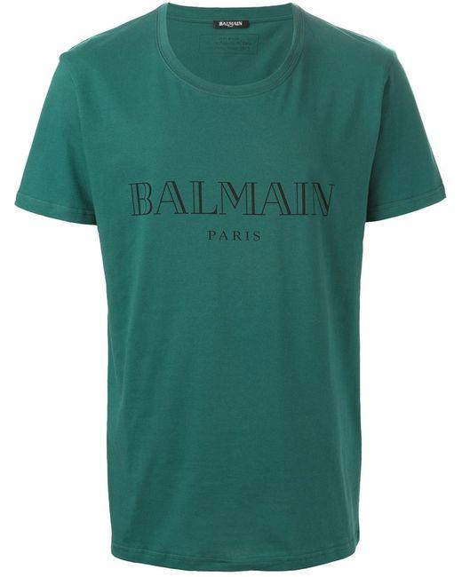 Balmain | Мужская Синяя Футболка С Принтом Логотипа