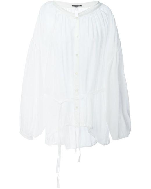 Ann Demeulemeester   Женская Белая Крестьянская Блузка С Присборенным Подолом