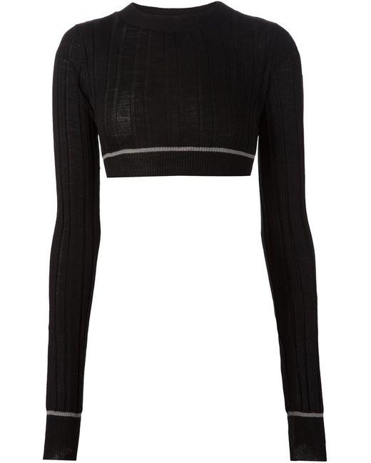 Vera Wang | Женское Чёрный Cropped Ribbed Sweater
