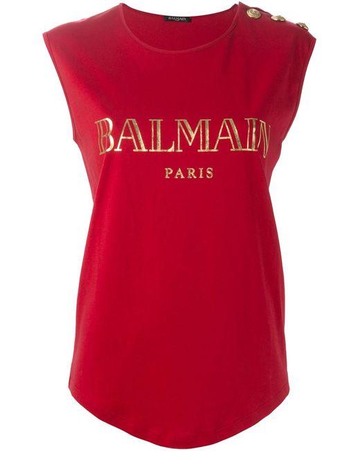 Balmain   Женская Красная Футболка С Логотипом