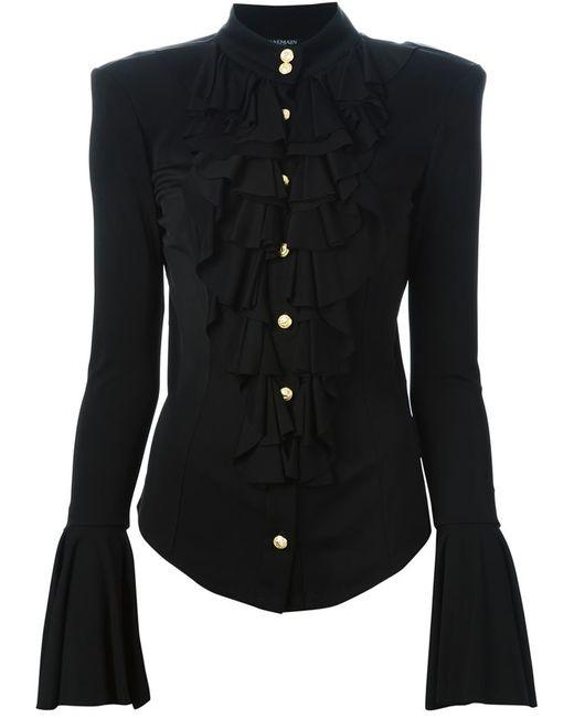 Balmain   Женская Чёрная Рубашка С Жабо