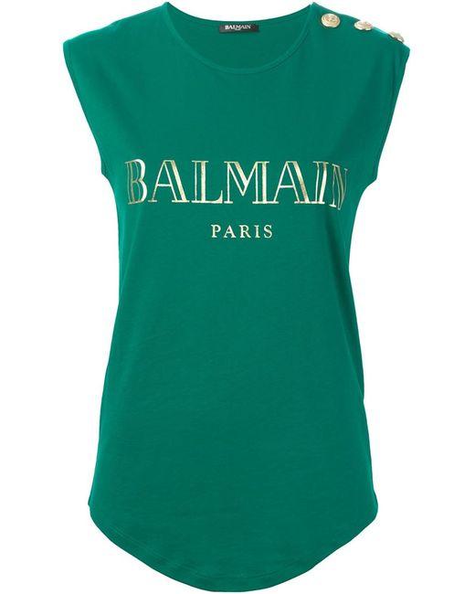 Balmain | Женская Зелёная Майка С Принтом Логотипа