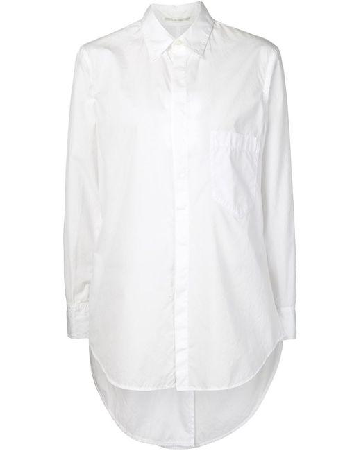 Yohji Yamamoto | Женская Белая Рубашка С Неравномерным Подолом