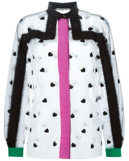 Marco De Vincenzo   Женское Белый Woollen Appliqué Lace Shirt