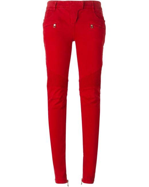 Balmain | Женское Красный Biker Trousers