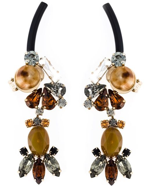Marni | Женское Серебристый Strass Clip-On Earrings