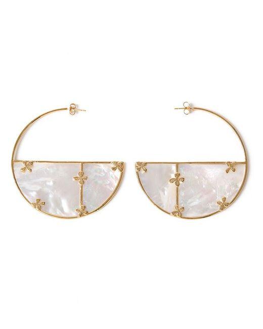 Aurelie Bidermann | Женское Белый Bianca Mother-Of-Pearl Hoop Earrings