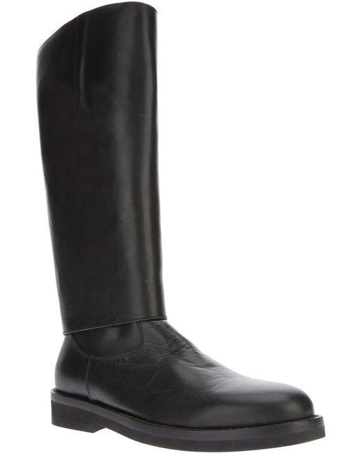 Ann Demeulemeester   Мужские Чёрные Массивные Высокие Ботинки